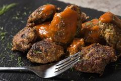 罗马尼亚传统食物` chiftele `或` parjoale ` 免版税库存照片