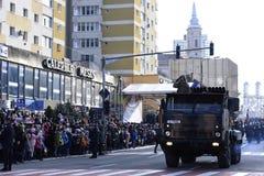 罗马尼亚军队游行在札勒乌,罗马尼亚 库存照片