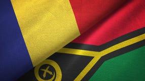 罗马尼亚和瓦努阿图两旗子纺织品布料,织品纹理 向量例证