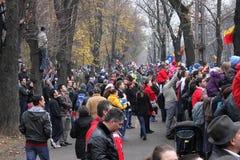 罗马尼亚国庆节游行注意 库存照片
