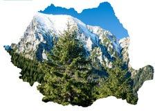 罗马尼亚地图和喀尔巴汗 库存照片