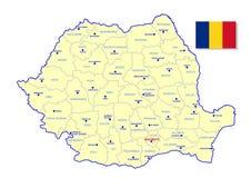 罗马尼亚地图 免版税图库摄影