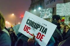 罗马尼亚抗议06/11/2015,布加勒斯特 免版税库存照片