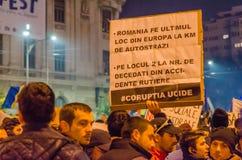 罗马尼亚抗议05/11/2015 免版税库存图片