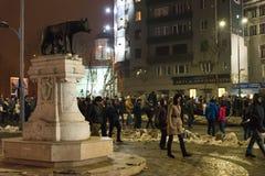 罗马尼亚抗议29/01/2017 免版税库存照片