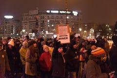 罗马尼亚抗议29/01/2017 免版税库存图片