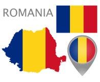 罗马尼亚旗子、地图和地图尖 向量例证