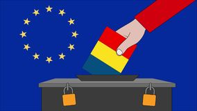 罗马尼亚欧洲选举的投票箱 皇族释放例证