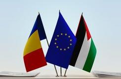 罗马尼亚欧盟和巴勒斯坦的旗子 向量例证