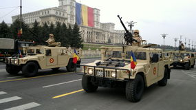 罗马尼亚的国庆节的军事训练 库存照片