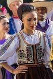 从罗马尼亚的少妇传统服装的19 免版税库存图片