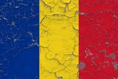 罗马尼亚的旗子在破裂的肮脏的墙壁上绘了 葡萄酒样式表面上的全国样式 向量例证