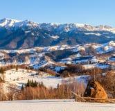 罗马尼亚自然,乡下风景,风景在冬天 库存图片