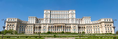 罗马尼亚议会大厦在布加勒斯特是第二大大厦在世界上 免版税图库摄影
