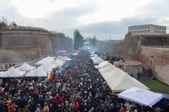 罗马尼亚语国庆节在阿尔巴尤利亚 图库摄影
