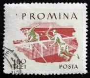 罗马尼亚邮票显示网球员,大约1959年 免版税库存图片