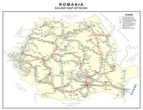 罗马尼亚铁路地图 向量例证