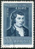 罗马尼亚- 1959年:在1959年显示罗伯特・伯恩斯画象1759-1796,苏格兰诗人,系列各种各样的文化周年 免版税库存图片