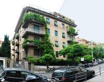 罗马市老房子和绿色树 免版税库存图片