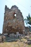 罗马帝国的最美好的工作Perge市在土耳其,城堡废墟 图库摄影