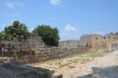 罗马帝国的最美好的工作Perge市在土耳其,城堡废墟 免版税库存照片