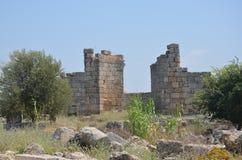 罗马帝国的最美好的工作Perge市在土耳其,城堡废墟 库存图片