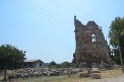 罗马帝国的最美好的工作Perge市在土耳其,城堡废墟 免版税库存图片