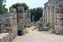 罗马帝国的最美好的工作Perge市在土耳其,超级现代文明废墟,街道 免版税库存图片