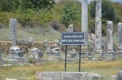 罗马帝国的最美好的工作Perge市在土耳其,超级现代文明废墟,水运河 免版税库存照片