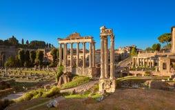 罗马广场的全景凯撒图象或者论坛,在罗马, Ita 免版税图库摄影