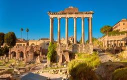 罗马广场的全景凯撒图象或者论坛,在罗马, Ita 免版税库存照片