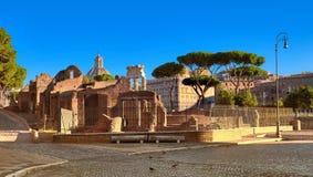 罗马广场的全景凯撒图象或者论坛,在罗马, Ita 库存图片