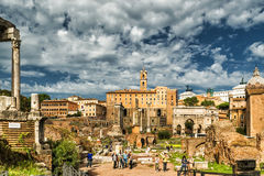 罗马广场,罗马的废墟 免版税图库摄影