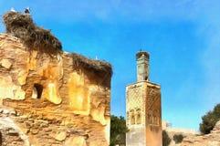 罗马废墟和Marinid大墓地五颜六色的绘画  免版税库存图片