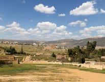 罗马废墟在约旦市杰拉什,约旦 免版税图库摄影