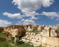 罗马废墟在约旦市杰拉什,约旦 库存图片