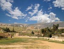 罗马废墟在约旦市杰拉什,约旦 免版税库存照片