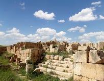 罗马废墟在约旦市杰拉什,约旦 免版税库存图片