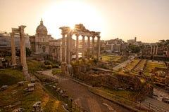 罗马废墟在罗马,意大利首都 免版税库存照片