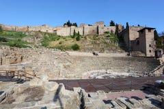 罗马废墟在马拉加,西班牙 免版税图库摄影