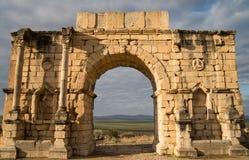 罗马废墟在Volubilis 库存照片