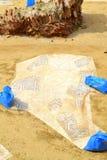 罗马废墟挖掘马赛克塞萨罗尼基 免版税库存图片