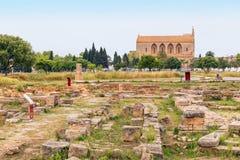 罗马废墟Alcudia老镇,马略卡 图库摄影