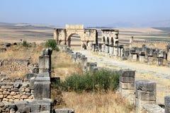 罗马废墟Volubilis,摩洛哥 库存图片