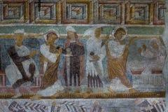 罗马式壁画在Hojen教会,丹麦里 图库摄影