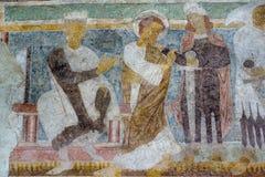 罗马式壁画在Hojen教会,丹麦里 库存照片