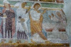 罗马式壁画在Hojen教会,丹麦里 免版税图库摄影