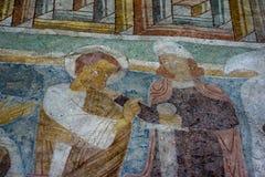 罗马式壁画在Hojen教会,丹麦里 免版税库存照片