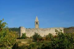 罗马式教会在Hrastovlje,斯洛文尼亚 库存照片