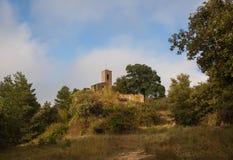 罗马式教会Sant茱莉亚de Uixols风景 库存图片